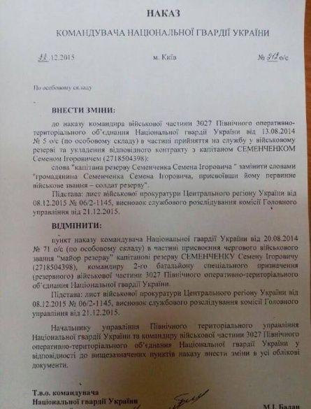 Документ щодо позбавлення Семенченка звання офіцера