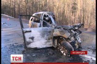 Легковик Honda розбився на друзки та згорів під Житомиром