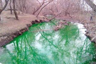 У Кіровограді вода в річці стала яскраво-зеленою