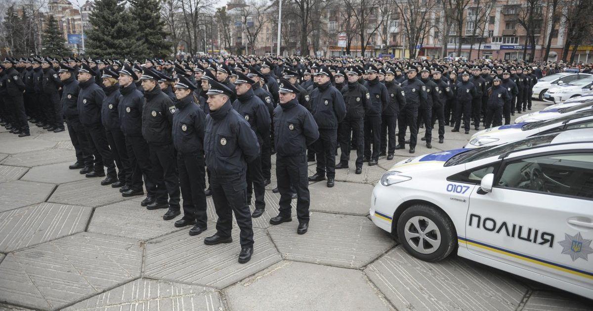 Церемонія складання присяги працівниками нової патрульної поліції у Полтаві. @ УНІАН