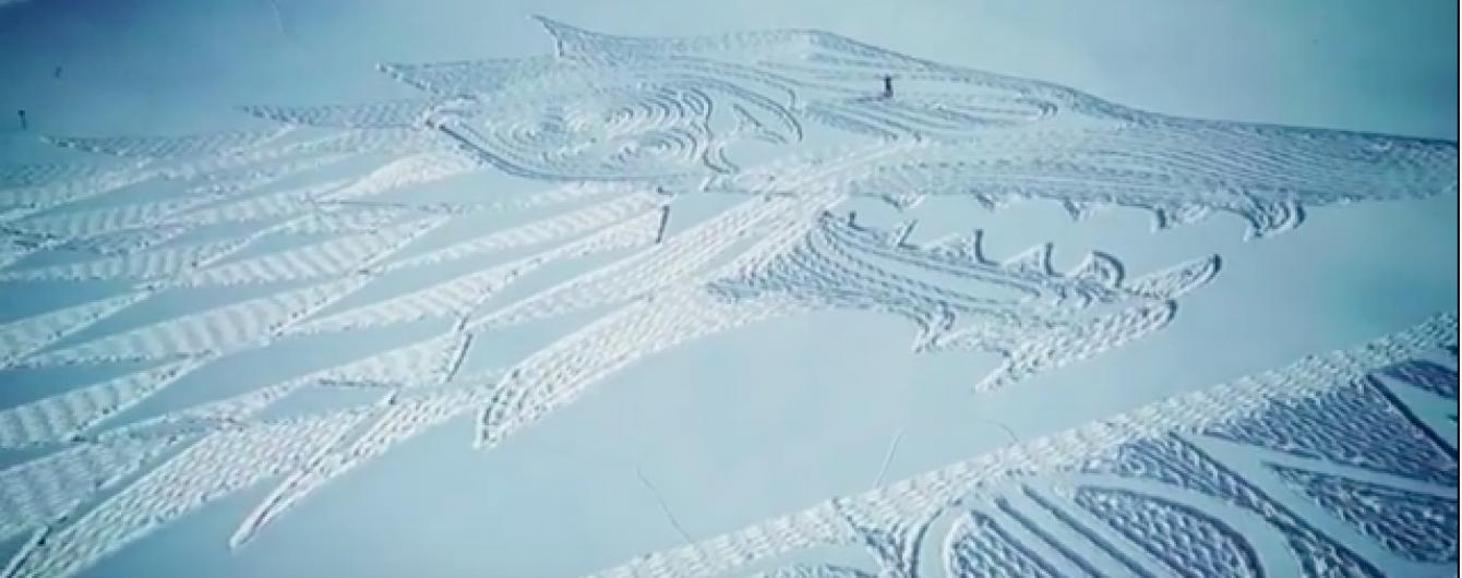 Зима близько: фанат-художник витоптав в снігу гігантський герб Старків