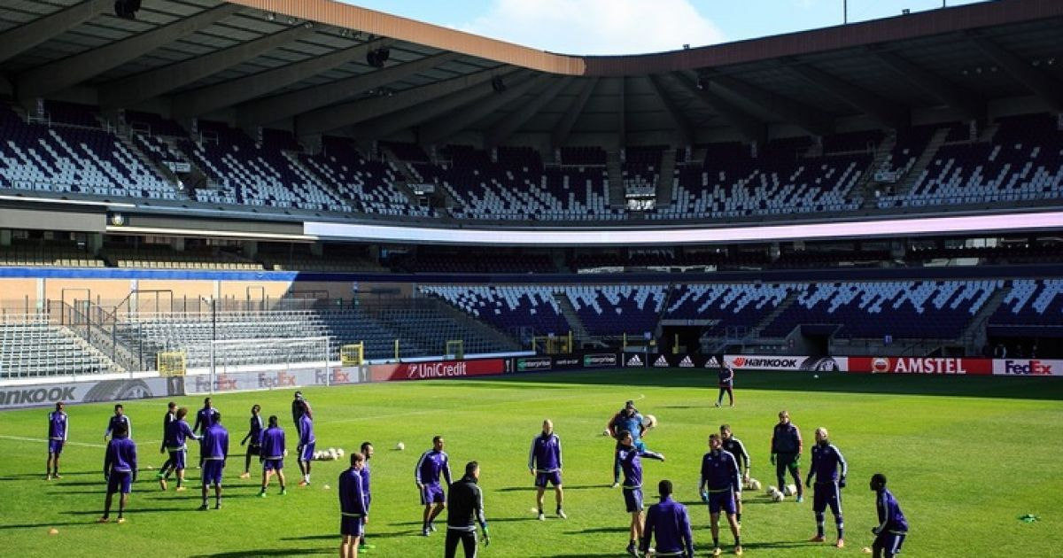 """16 березня. Брюссель. Стадіон """"Констант Ванден Сток"""".""""Андерлехт"""" провів відкрите тренування перед матчем з """"Шахтарем""""."""
