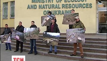 Жители Прикарпатья протестуют против незаконной вырубки заповедных лесов