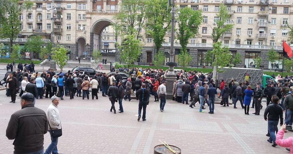 Предприниматели перекрыли движение по Крещатику @ Фото Инны Боднар/ТСН