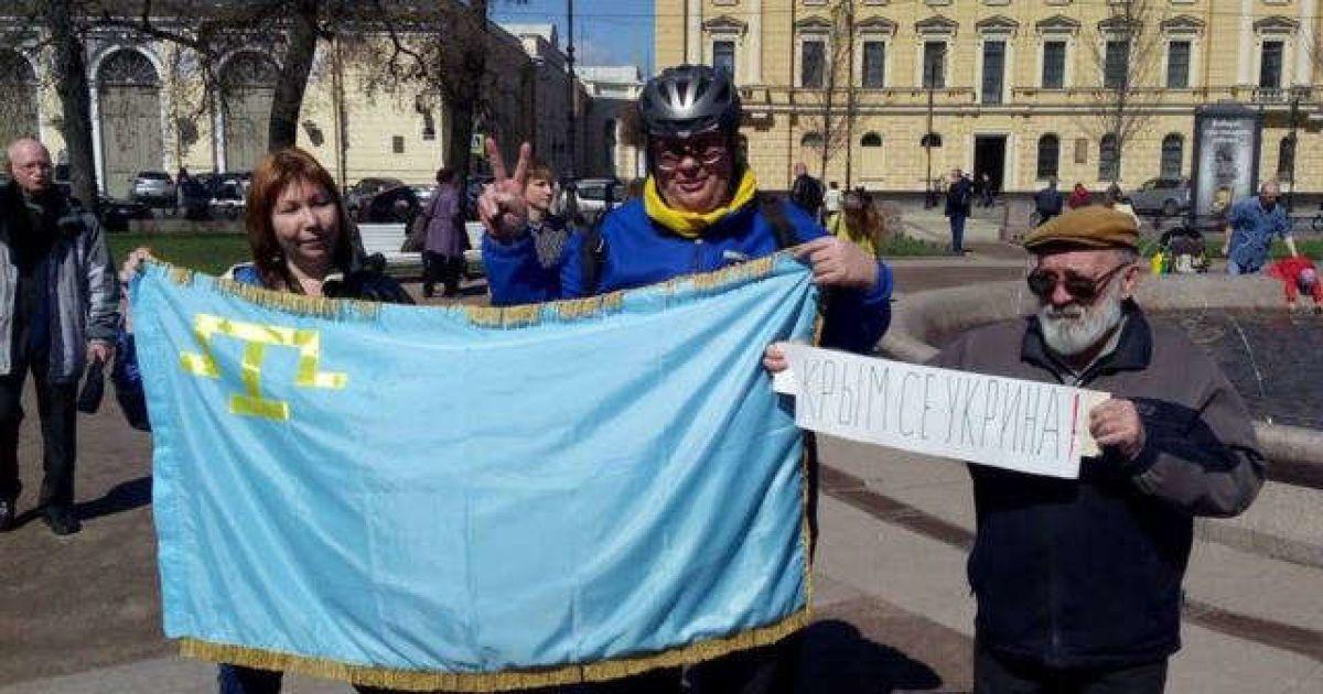 Пікет проти заборони Меджлісу в Петербурзі.