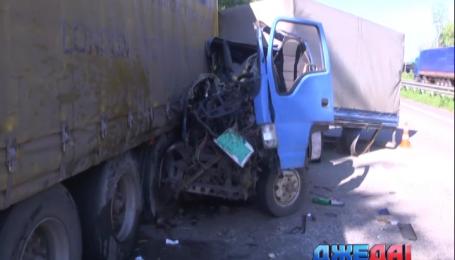 На Житомирской трассе грузовик врезался в припаркованный на обочине МАН