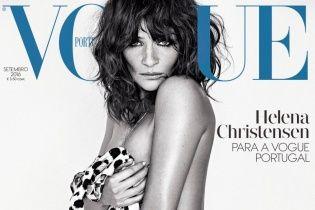Еще ого-го: 47-летняя Хелена Кристенсен снялась топлес для обложки Vogue Portugal
