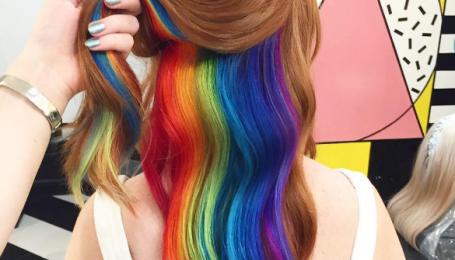 Скрытая радуга - новый тренд покраски волос