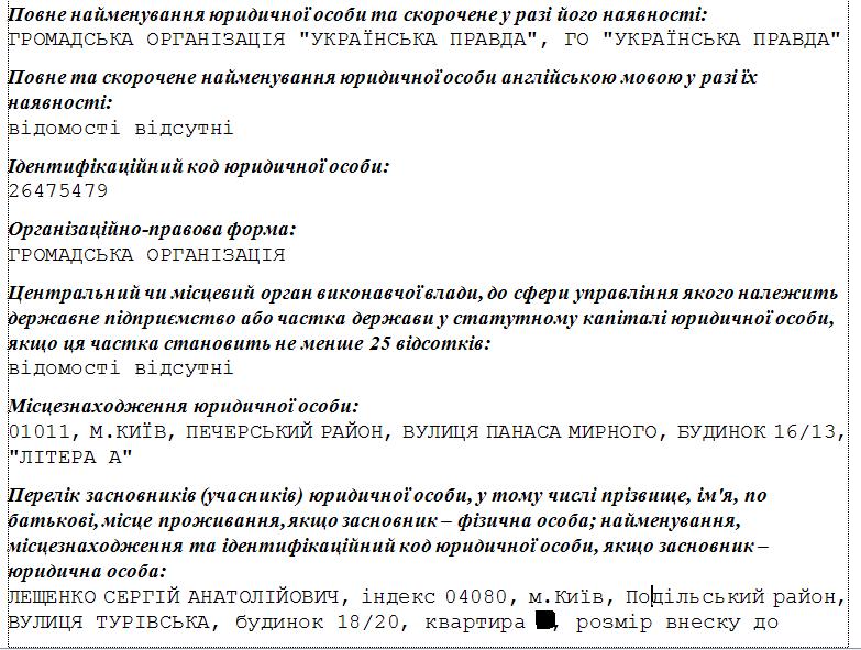 Лещенко співзасновник Української правди