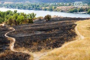 З'явилися фото наслідків масштабної пожежі на Хортиці