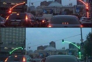 У Києві встановили експериментальний світлофор з підсвіченою опорою