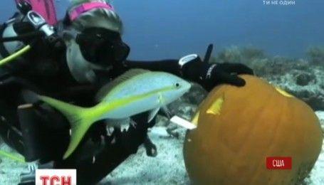 В штате Флорида тыквы ко Дню всех Святых украшали под водой