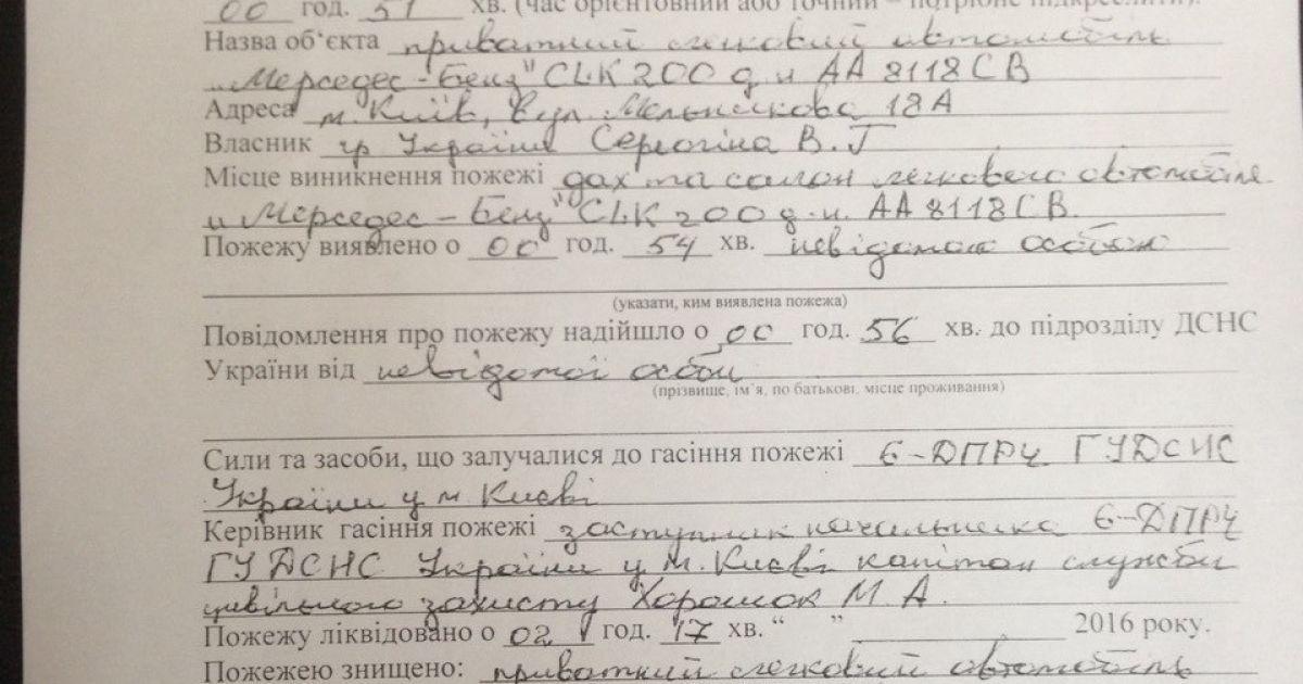 Акт о пожаре авто Ескиной @ ТСН/Татьяна Боковня
