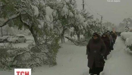 Метель парализовала дороги в западных и северных областях Украины