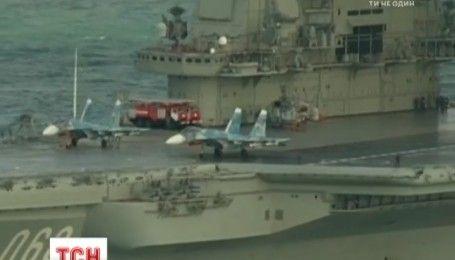 """Нещасливий авіаносець """"Адмірал Кузнєцов"""": після злету російський винищувач впав у воду"""