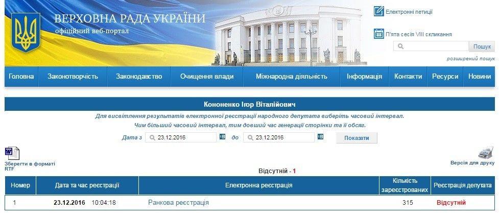 Реєстрація Ігоря Кононенка в Раді