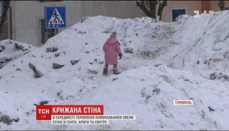 У середмісті Тернополя парк загородили сніговими териконами