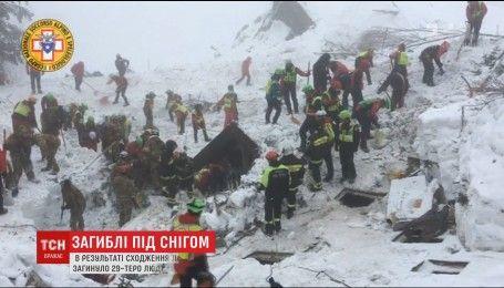 В Італії рятувальники закінчили пошукові дії на місці сходження лавини