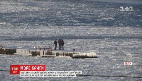 Одесский залив вновь сковало льдом
