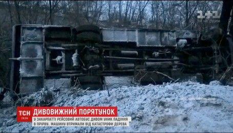 Автобус з пасажирами ледь не впав в 15-метрове урвище на Закарпатті
