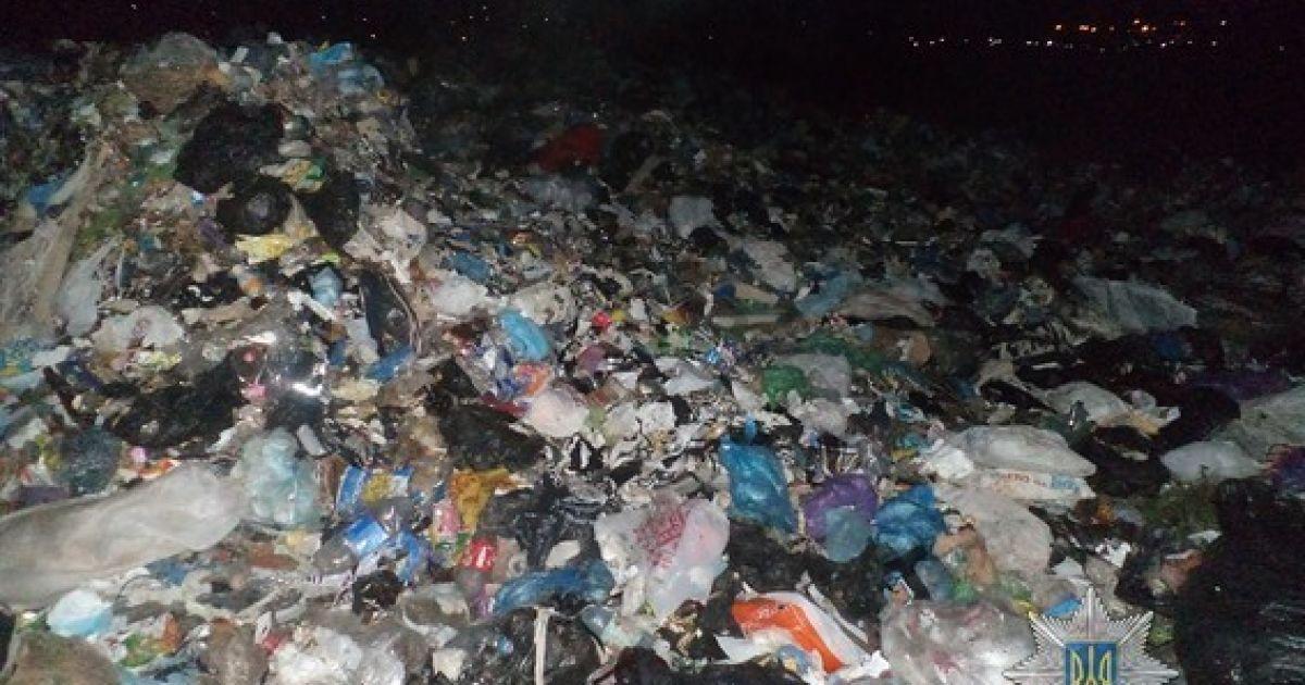 На Запорожье неизвестные среди ночи выгрузили в поле сотни тонн львовского мусора