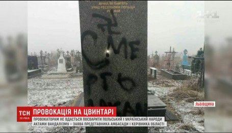 На Львовщине вандалы облили краской и исписали польские могилы и памятники