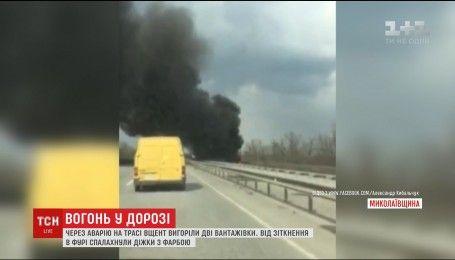На трассе под Николаевом в результате аварии полностью выгорели две фуры