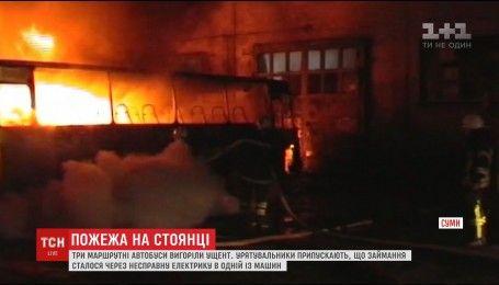 В Сумах сгорели три маршрутки