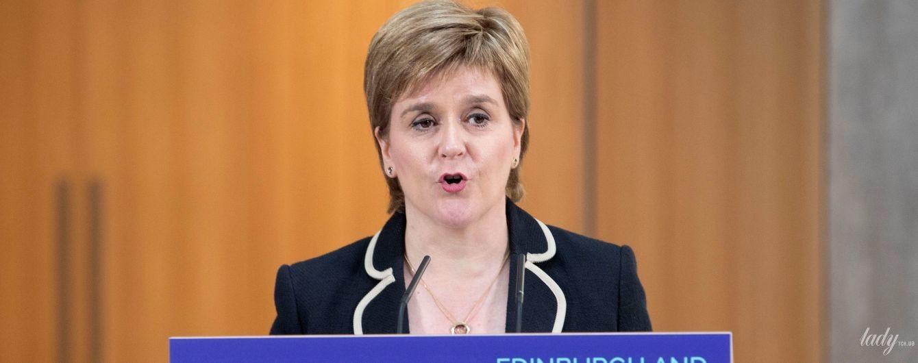 Костюм вместо любимого платья: первый министр Шотландии Никола Стерджен на официальной встрече