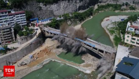 Невероятные кадры подрыва моста в Китае попали в сеть