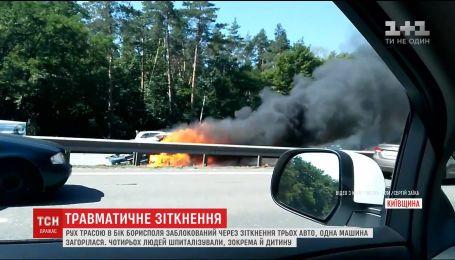 У ДТП на Бориспільській трасі постраждала маленька дівчинка та жінка