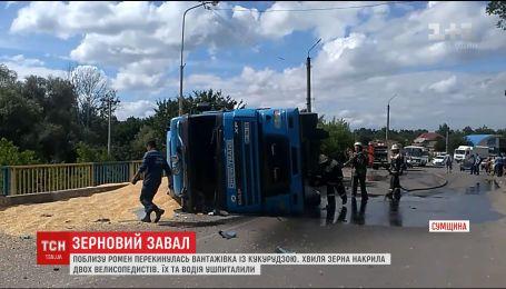 Волна зерна с перевернувшегося грузовика накрыла двух велосипедистов на Сумщине