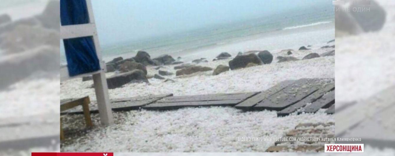 Очевидці поділилися враженнями від граду, який засипав курорти Херсонщини