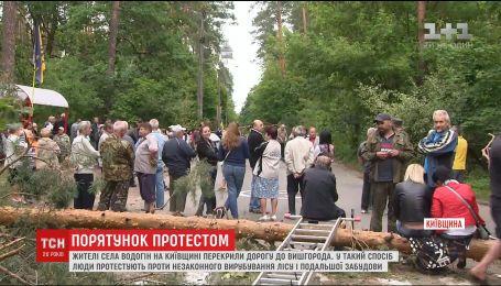 На Київщині люди перекрили дорогу, протестуючи проти вирубування лісу