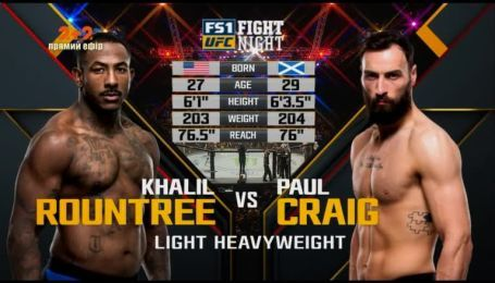 UFC. Кхаліл Раунтрі - Пол Крейг. Відео бою