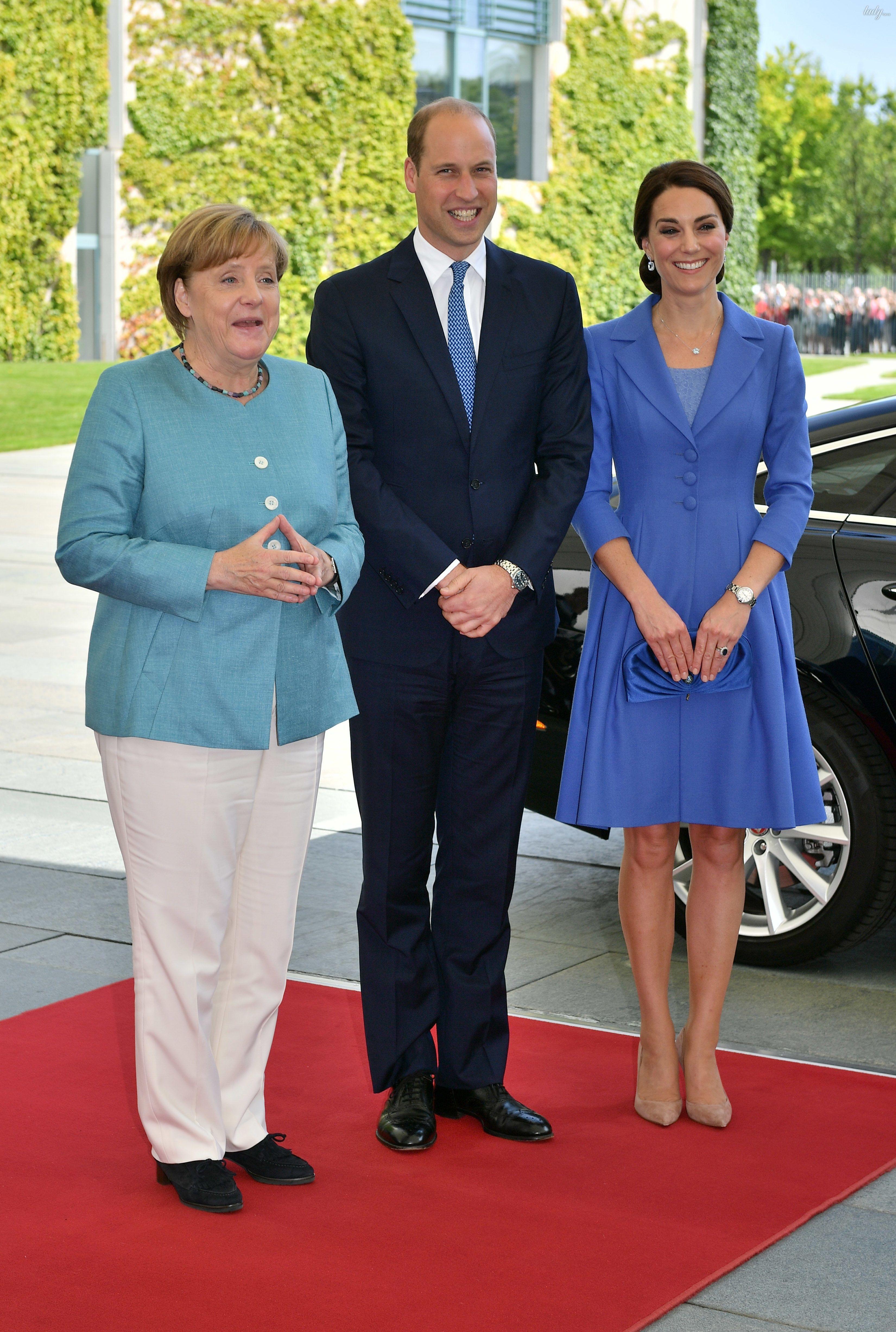 Герцогиня Кембриджская и принц Уильям с Ангелой Меркель