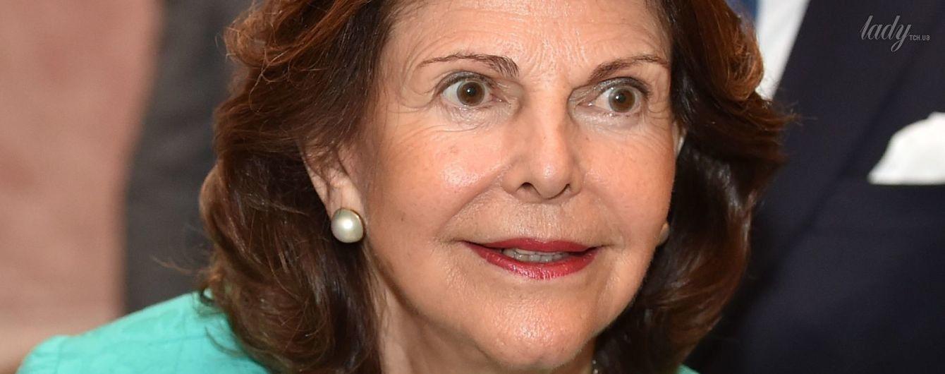 В ярком наряде и на каблуках: 73-летняя шведская королева Сильвия на торжественном приеме