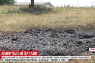 На Харьковщине 7-летний мальчик потерял речь после того, как его друг заживо сгорел в соломе