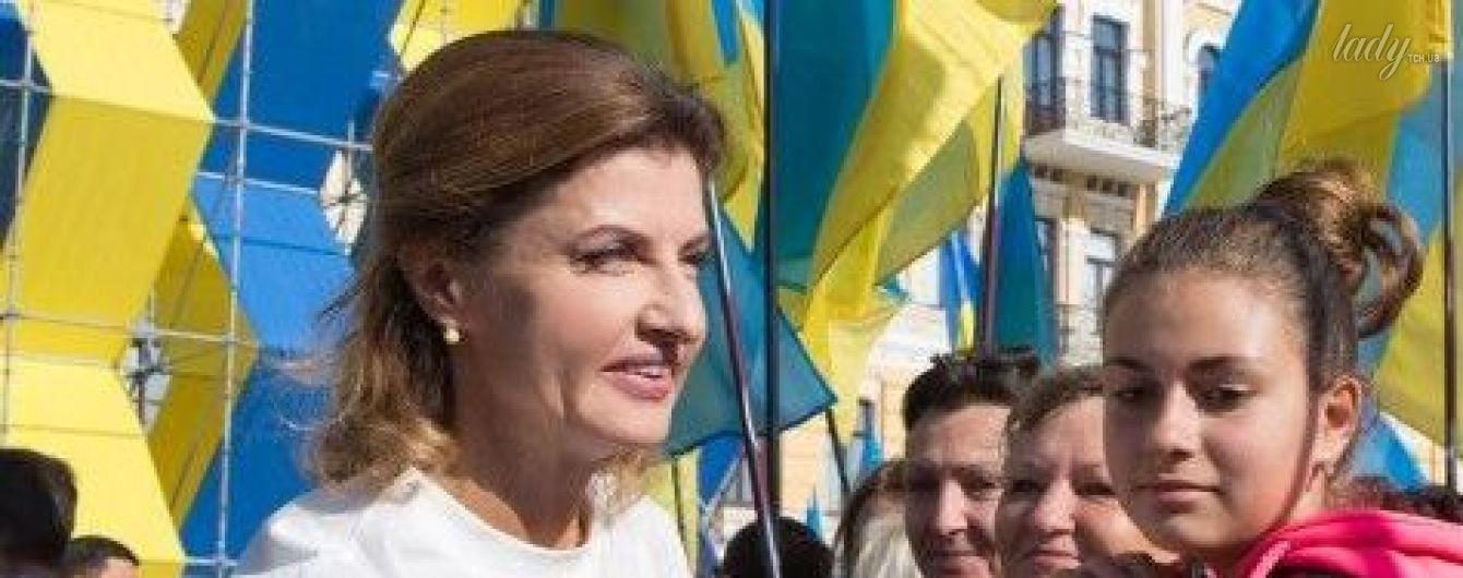 Красиво и патриотично: Марина Порошенко вышла в свет в блузке от украинского дизайнера за 685 гривен