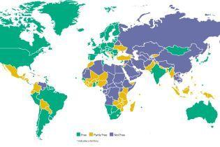 Правозахисники Freedom House зафарбували на карті Крим одним кольором із Росією