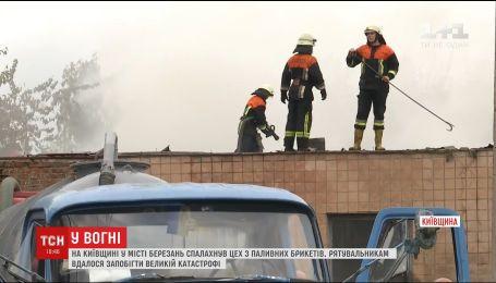 На Киевщине загорелся цех с топливных брикетов