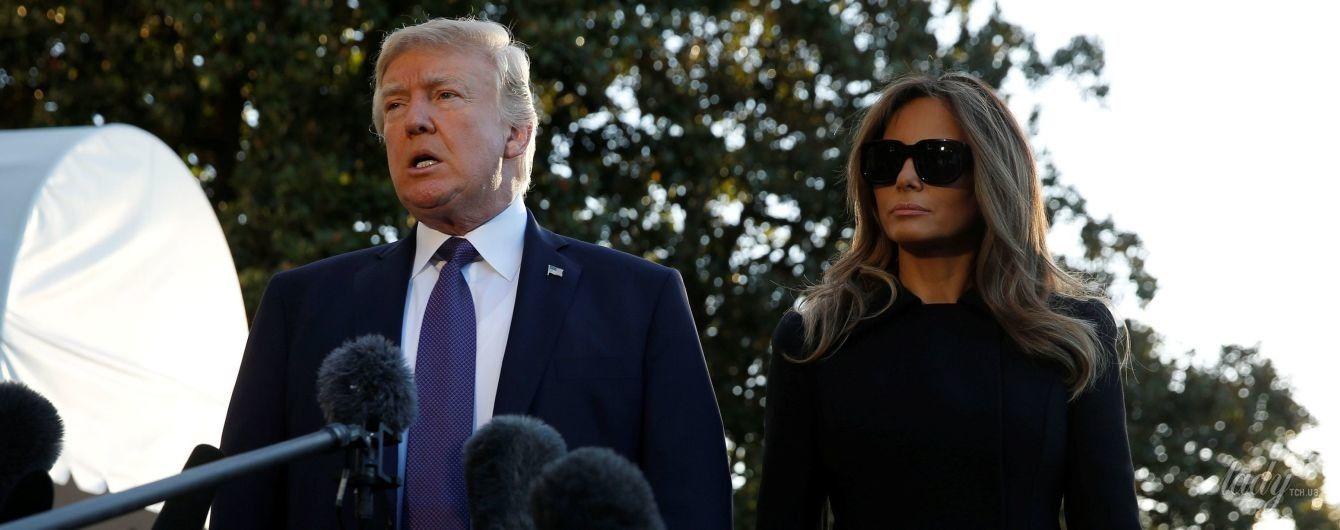 В стильном пальто и вновь на шпильках: Мелания Трамп с мужем прибыла в Лас-Вегас