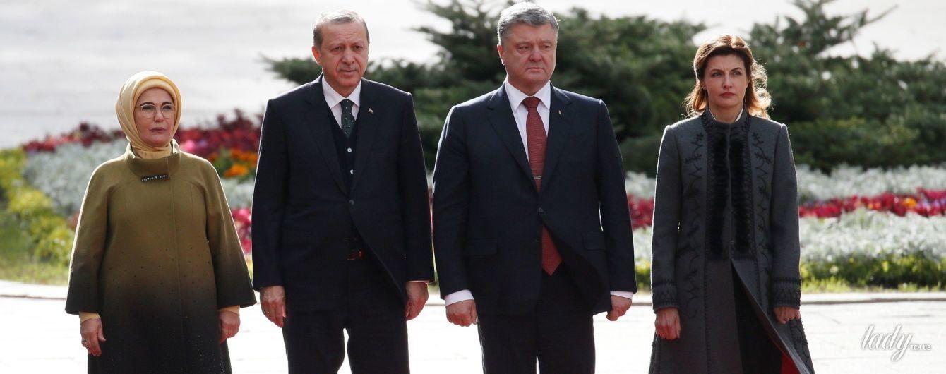 В пальто с вышивкой и балетках: Марина Порошенко на встрече с президентом Турции