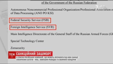 До чорного списку американських санкцій можуть потрапити російська розвідка та оборонна галузь