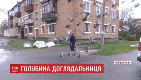 Бабуся на Хмельниччині піклується про всіх міських голубів