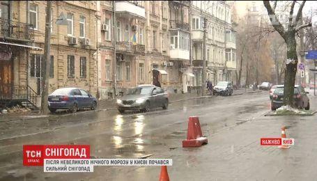 В Киеве выпал снег