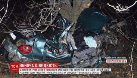 У Жахливій аварії неподалік Дніпра загинули троє підлітків та 20-річний водій