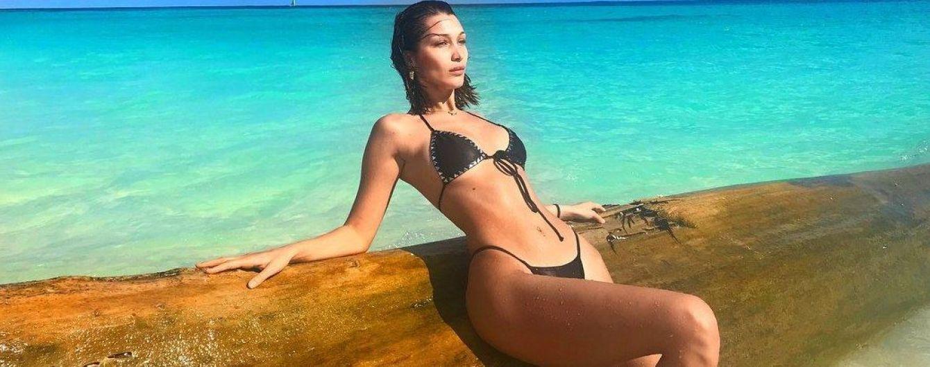 В черном бикини на фоне красивого моря: Белла Хадид демонстрирует фигуру с новых ракурсов