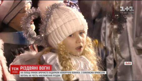 Во Львове торжественно открыли новогоднюю елку