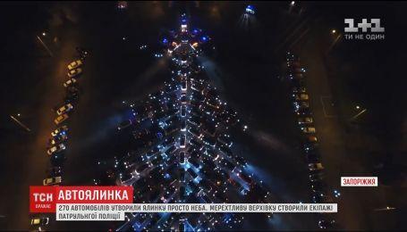 Сотни машин создали гигантскую елку в Запорожье